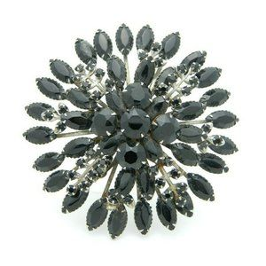 Large Black Glass Rhinestone Flower Burst Silver